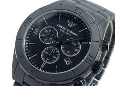 BRAND NEW EMPORIO ARMANI BLACK CERAMICA CHRONOGRAPH MEN WATCH AR1458