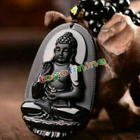 Black Natural A Obsidian Carved Buddha Pendant Rope Gift For Men Lady