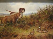 """perfect oil painting handpainted on canvas """"two dogs and birds""""@N13906"""