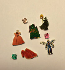 5 WIZARD OF OZ FLOATING LOCKET EMERALD CASTLE WITCH GILDA RUBY SHOES MONKEY