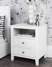 Brooklyn White Bedside Table With 2 Drawers and Shelf Metal Runners Dovetail