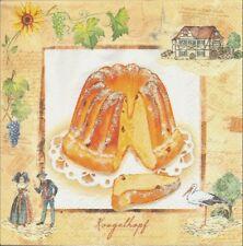 2 Serviettes en papier Alsace Kouglouf Kouglof Fùrmekùùche Paper Napkins
