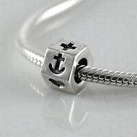 FAITH, HOPE & CHARITY - Christian- Solid 925 sterling silver European charm bead