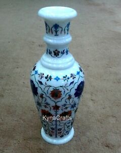 12 Inches Marble Planter with Pietra Dura Art Flower Vase use for Home Decor