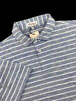 Peter Millar Seaside Performance Polo Stripe Blue White Shirt Mens Medium $95