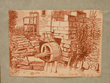 """Dessin Sanguine Début XIXe vers 1800 """" Le Moulin """"  PDH18"""