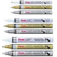 White Silver Gold Pentel Permanent Paint Markers MSP10 Fine Paint Marker