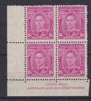 APD415) Australia 1938 1/4d Magenta KGVI Imprint Block mint unhinged. Price $25