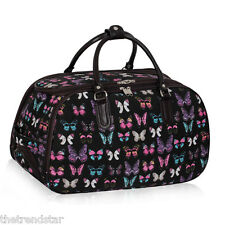 Ladies Travel Bags Holdall Hand Luggage Women's Weekend Handbag Wheeled Trolley Black Butterfly S1