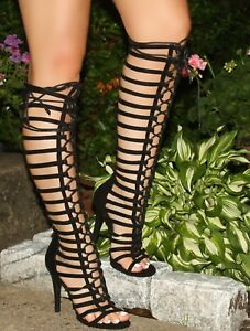 Black Strappy Lace Up Front Open Toe Knee High Gladiator Bootie Heels, US 5.5-10