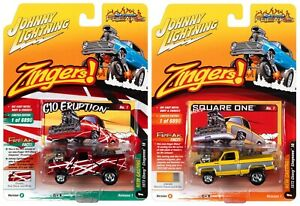 2021 Johnny Lightning *ZINGERS* Red & Yellow 1973 Chevy Cheyenne 10 Set of 2 NIP