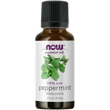 NOW 100% Pure Peppermint Essential Oil 1 oz 30 ml, Clearance for stained label