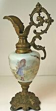 "Vintage Antique Victorian Cast Metal Hand Painted Green Glass Ewer Urn 15"""