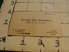 Vintage Original Business Card THE BAY STATE SWINGSTERS Worcester MA Music