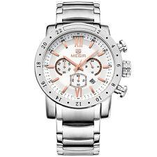MEGIR 3008G Men Chronograph Calendar 6 Hands Stainless Steel Quartz Watch