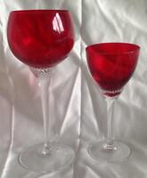 2 x stunning ruby red wine glasses with clear applied stems 1 small 1 large