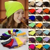 Men's Women Knit Ski Cap Hip-Hop Blank Color Winter Warm Unisex Hat