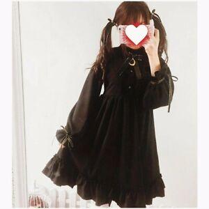 Japanese Sweet Lolita Harajuku Gothic Bowknot Long Sleeve A-line Princess Dress
