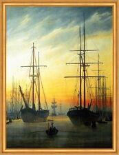 Ansicht eines Hafens Segelschiffe Romantik LW Caspar David Friedrich A2 002