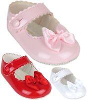 BabyPrem Baby Girls Classic BayPods Pram Shoes White Pink Red 0 -18 months