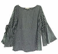 Ann Taylor LOFT Women's Size 14 Cold Shoulder Top L/S Open Bell Sleeves Check