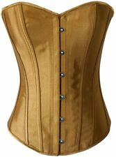 Chicastic Black Satin Sexy Strong Boned Corset Lace Up Overbust Bustier Bodyshap