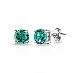 Stud Earrings Emerald 2ct Solitaire Solid 9ct White Gold