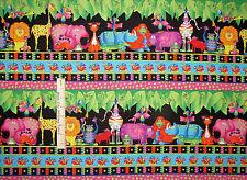 Jungle Animal Snail Hippo Rhino Stripe Cotton Fabric RJR Jungle Things - Yard