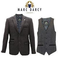 Mens Marc Darcy Designer Tweed Herringbone Smart Dinner Coat Blazer Waistcoat