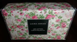 Laura Ashley CAL California King Sheet Set Cotton Floral Country Shabby Chic