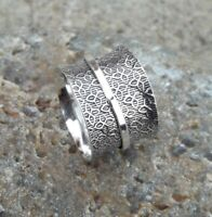 Solid 925 Sterling Silver Spinner Ring Meditation Ring Statement Ring Size M472