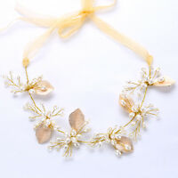 Gold Leaves Pearl Wedding Bridal Headband Hair Vine Hairpiece with Ribbon Belt