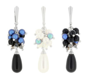 Sterling Silver Dangle Earrings made with 5810 & 5816 Pearls Swarovski® Crystals