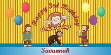 Personalized Curious George Theme Big Birthday Party Vinyl Banner Sign Decor