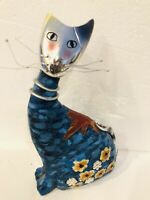 Vintage Folk Art Cat Figurine Hand Painted Floral Silver Head Whiskers & Tail