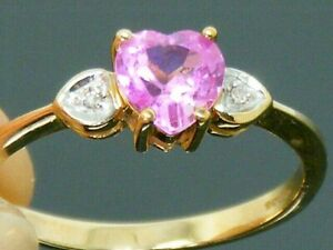 9ct Gold Pink Sapphire & Diamond Love heart Hallmarked Ring size P