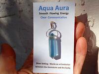 Aqua Aura Quartz Point Silver Pendant-24K Gold Infused-99% Clarity! Energy+++