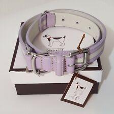 COACH Dog Collar XL Heritage Stripe Lilac/Purple/Lavender Bone Shaped Tag-NIB