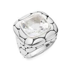 John Hardy Batu Kali White Topaz Large Square Ring in Sterling Silver Size 7