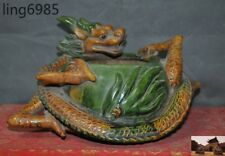 "9"" Old China Tangsancai porcelain Glaze Dragon Statue incense burner Censer"