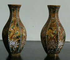 More details for two small vintage hexagonal chinese cloisonne chinese vases