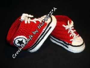 HANDMADE CROCHET BABY UNISEX  BOOTIES ATHLETIC SNEAKERS  CONVER STYLE