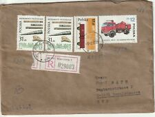 1986 Poland registered cover sent from Warsaw to Emmelshausen Germany