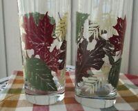Autumn Leaves Tumblers Glasses Libbey Set of 6
