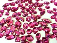 CraftbuddyUS 80 pieces Cerise Faceted Acrylic Sew On Crystal Rhinestone Gems