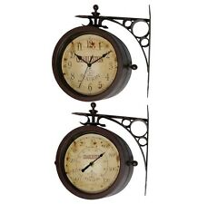 `Wall Clock Thermometer Double Sided Metal Outdoor Indoor Bracket Railroad Train