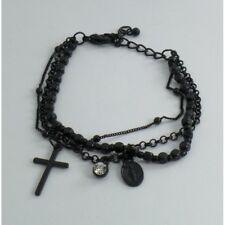 Bracciale Rosario 3 Fili Color Nero Grani Neri con Strass Croce Medaglietta