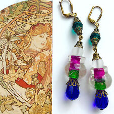 Vintage Style NEW Artisan EARRINGS Fuscia Green Foil GLASS Crystals Dangler#1279
