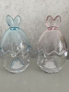 Easter Glass Bunny Jar Blue, Easter Decor