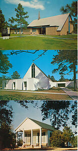 3 POSTCARD LOT LUTHERAN BAPTIST METHODIST CHURCH MYRTLE BEACH SOUTH CAROLINA